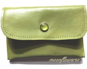 Green Leather Business Card Holder With Birds Singing on a Branch Lining - ID Holder - Credit Card Holder - Gift Card Holder