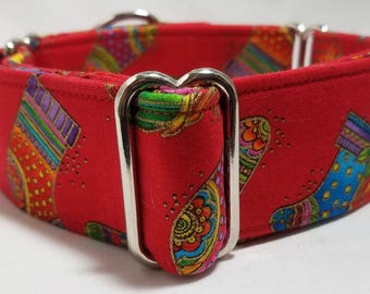 Fancy Stockings on Red, Green or Purple Cotton Greyhound, Whippet, Galgo, Pit Bull, Dog, Sighthound Martingale Collar