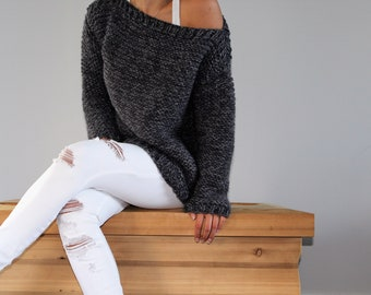 Hand knit chunky cozy sweater