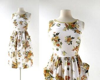 20% off sale 50s Floral Cotton Dress | Marigold Dress | 1950s Dress | XXS XS
