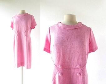 20% off sale Vintage 1960s Dress | Pink Linen Dress | 60s Dress | Large L