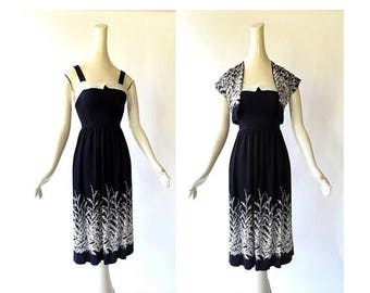 20% off sale 1950s Vintage Dress | Wild Grasses | 50s Dress | XXS
