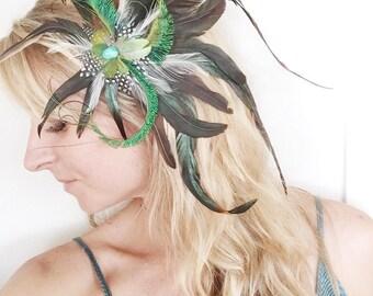 Feather Fascinator, Hairpiece, Hair Clip, Hat Clip, Festival, Renaissance, Derby