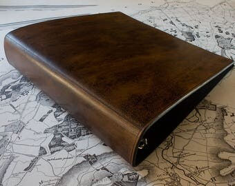 us letter size dark brown leather 3 ring binder 85 x 11 inch ring binder