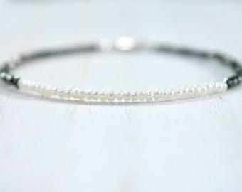 tiny iron pyrite &  pearl bracelet. thin stacking bracelet. pyrite and tiny pearl bracelet. fools gold and tiny freshwater pearl bracelet