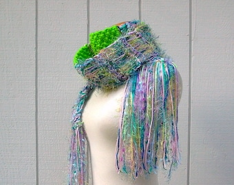 butterfly kisses. handknit scarf . long fringed bohemian scarf . knit art yarn scarf . turquoise blue lavender pink neon green