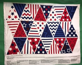 RTC Fabric Stitch & Sparkle PATRIOT DAY Red White And Blue Bunting Fabric Panel New