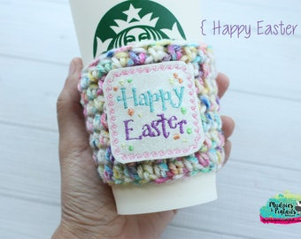 Spring Crochet Coffee Sleeve { Happy Easter } watercolor, rainbow, birthday cup cozy, knit mug sweater, gift, mug holder