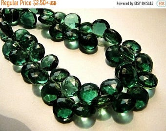 40% OFF Green Hydro Quartz Gemstone Bead. Faceted Heart Briolettes. 9mm. Pairs or Non Matching 1 to 5 Briolettes (JHQ2) Last Ones