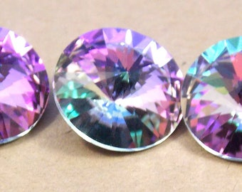 Swarvoski, Faceted, round. rivoli, 12mm, vitrail light, rhinestones, 6 pieces to a lot
