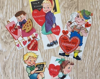 Set of 5 Vintage 1950s Valentine School Cards, Boys and Girls, German, Artist, Chalkboard