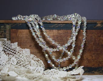 Vintage Aurora Borealis Triple Strand Necklace- Crystal Bead Wedding Jewelry Sparkle Faceted Beads- Crystal Choker