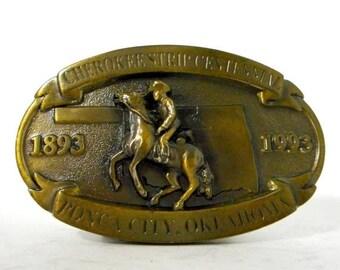 Cherokee Strip Centennial Belt Buckle Ponca City, OK Oklahoma Horse Cowboy Western