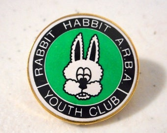 Rabbit Habbit Youth Club Pin Button ARBA White Bunny Vintage Kids Organization