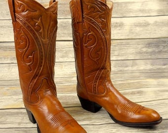Vintage Cowboy Boots Dan Post Size 7.5 A Narrow Width Tan Brown Western Country