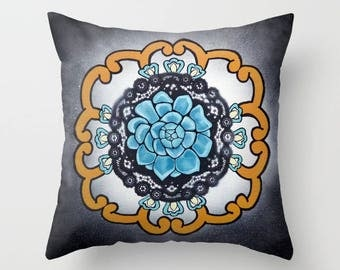 Succulent Pillow, Cactus Pillow, Mandala Pillow, Yoga Pillow, decorative throw pillow cover, 18 x 18, meditation art, yoga studio, Mexican