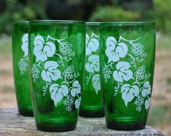 Set of 4 Mid-Century Anchor Hocking Forest Green Tumblers with Grapes