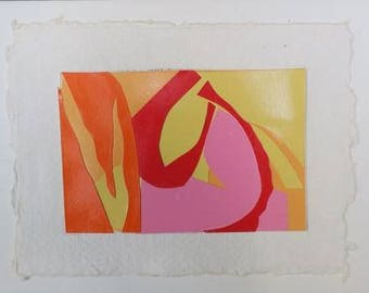 abstract, mini collage, mixed media collage, paper collage, orange, red, pink, original hand cut art, greeting card with envelope, birthday