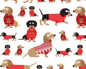 Holiday Dachshund Fabric - Dachshunds Christmas Sweaters By Chicoinedesign - Doxie Dog Christmas Cotton Fabric By The Yard With Spoonflower