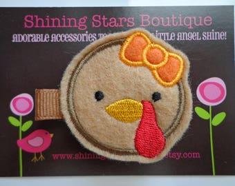 Girls Hair Accessories - Felt Hair Clips - Light Brown Thanksgiving Turkey Embroidered Felt Hair Clippie
