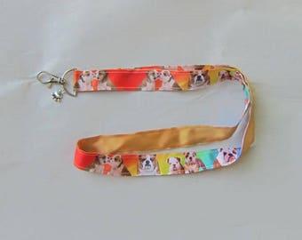 Handmade Grosgrain & Satin Ribbon Dog ENGLISH BULLDOG Lanyard/Keychain/Badge Holder w/Metal Charm