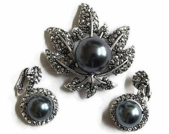 Marcasite Leaf Brooch and Dangle Earrings Set Hematite Glass Pearl Vintage