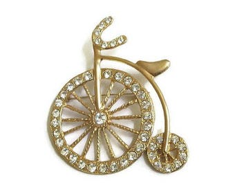 Pave Rhinestone Penny Farthing Bicycle or Bike Brooch Vintage Large High Wheel