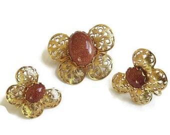 SALE Goldstone Butterfly Brooch and Earrings Copper Filigree Set Vintage