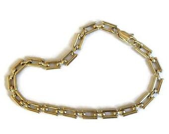 SALE Rectangle Links Chain Bracelet Vintage Gold Tone