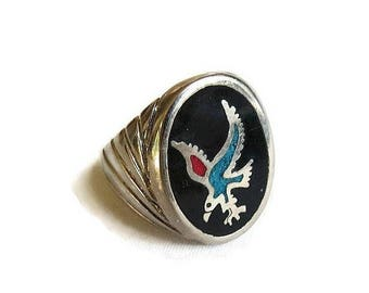 SALE Inlaid Turquoise & Coral Ring Eagle Size 9 Vintage Southwest