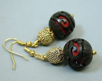 Vintage Chinese Black Cinnabar Collectible Bead Dangle Drop Earrings ,Gold Bead - GIFT WRAPPED JEWELRY