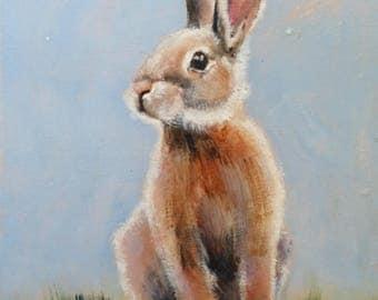 """ORIGINAL oil painting, BUNNY,   8"""" X 10"""" unframed, EASTER Bunny. brown bunny,  Rabbit painting, small painting, fine art, animal art,"""