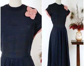 Vintage 1940s Dress - Fabuous Navy Rayon Long Day Dres with Red and White Gingham Flower and Ruffed Trim