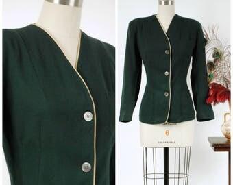 Vintage 1940s Jacket - Smart Deep Evergreen Wool 40s Collegiate Jacket with Pockets