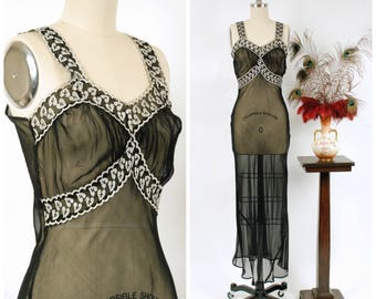 Vintage 1940s Nightgown - Daring Sheer Black Rayon Bias Cut 1940s Nightgown with White Embroidered Leafy Trim