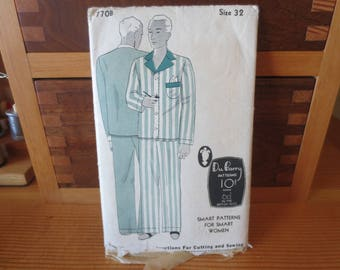 DuBarry Vintage 1930s Pattern 770B mens Pajamas / 2 piece mens pajamas Size 32 / pattern and instructions