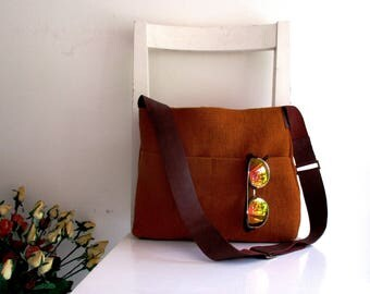 Basic Ginger Messenger with Leather Strap