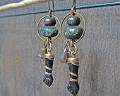 "Antique figa earrings, rustic handmade art jewelry - ""Telegnosis"""