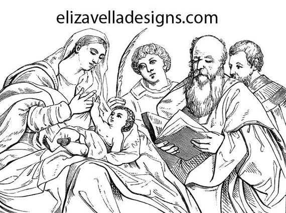 virgin mother mary jesus lady madonna adult kids coloring page printable art digital image download graphics religious christian printables
