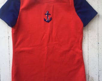 Womens Vintage 1970s Red & Blue Sailor Anchor Shirt