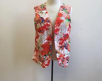Vintage 1980s Red Asian Print Vest Large