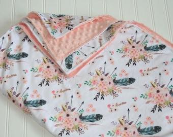 boho baby blanket- floral baby blanket- minky baby blanket- feather baby blanket- watercolor floral- girl baby bedding- custom baby blanket