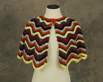 vintage 70s Hand Knit Capelet - 1970s Chevron Striped Crochet Shawl Wrap Cape Sz S M L