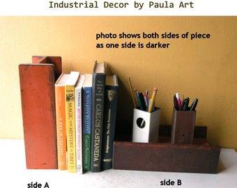 Office Organizer Desk Storage Nightstand Tray Remote Holder Industrial Decor Mini Shelf Metal Bookend Repurposed Reclaimed table accessory