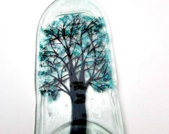 Incense Burner,  Incense Holder, Recycled Clear Wine Bottle,   Melted Bottle Incense Holder,   Hand Painted Tree with Teal Leaves, Glass Art