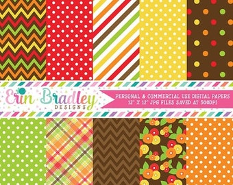 80% OFF SALE Thanksgiving Digital Paper Pack Personal & Commercial Use Red Orange Yellow and Green Polka Dots Chevron Stripes and Plaid