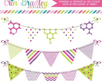 80% OFF SALE Pink Purple & Green Bunting Clipart Clip Art Commercial Use Banner Flags Instant Download