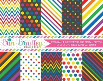 80% OFF SALE Rainbow Digital Paper Pack Rainbow Patterns Digital Scrapbook Papers Polka Dots Chevron Stripes Instant Download
