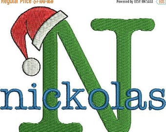 SALE 65% OFF Christmas Santa Claus Hat Machine Embroidery Monogram Fonts Designs Instant Download Sale