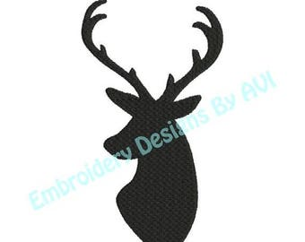 SALE 65% OFF Deer Head Buck Antlers Silhouette Shadow Machine Embroidery Designs 4x4 & 5x7 Instant Download Sale